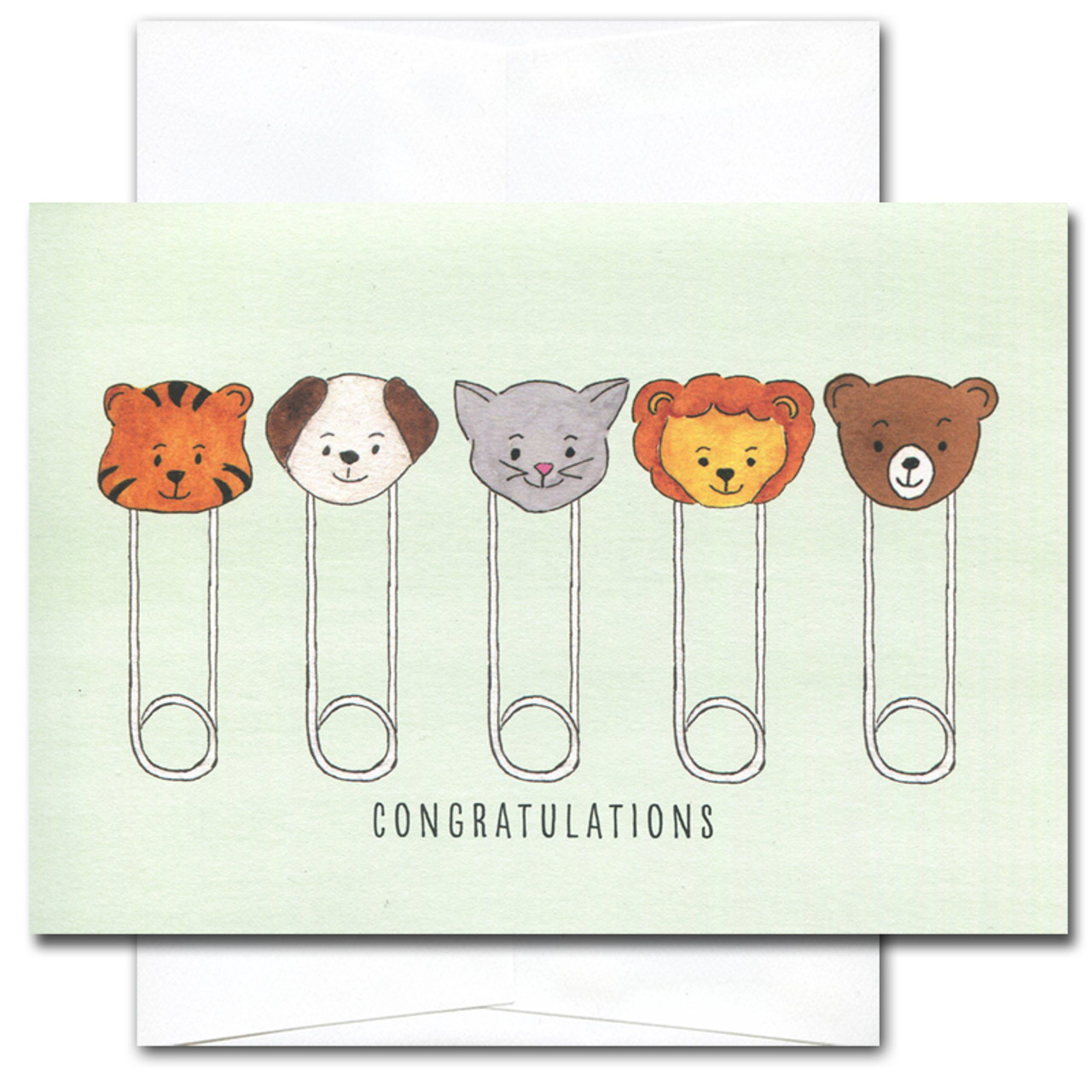 baby congratulations card has a line up of diaper pins with baby animal faces and the - Baby Congrats Card