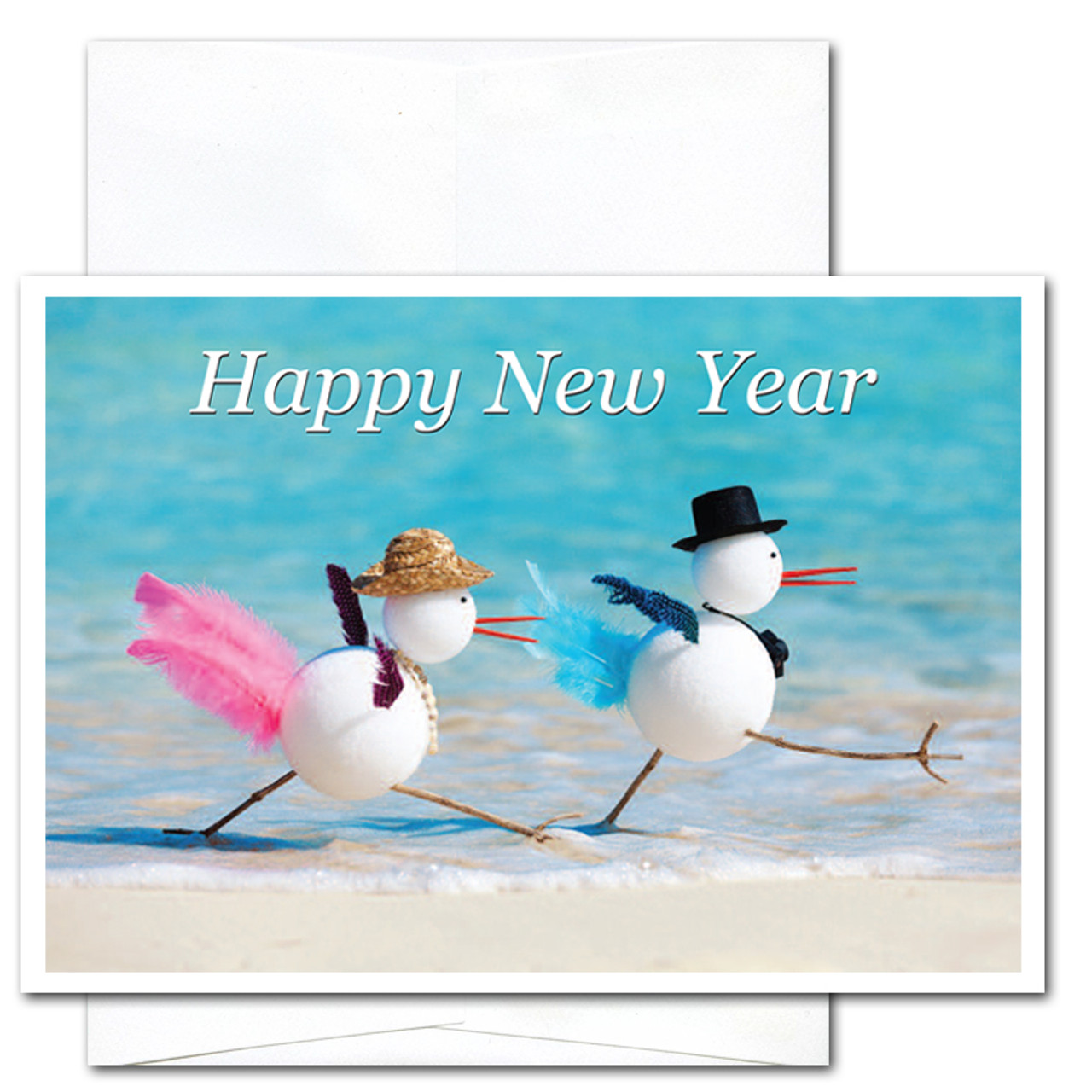 snowbirds new year card cover shows two snowbirds walking along the beach and the words