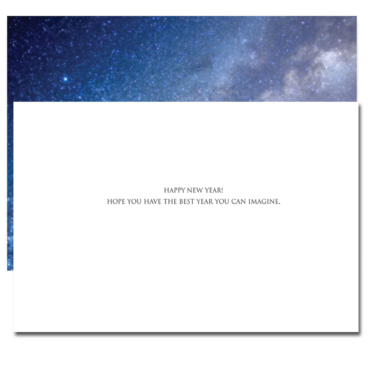 Inside of Milky Way New Year card reads: Happy New Year! Hope you have the best year you can imagine.