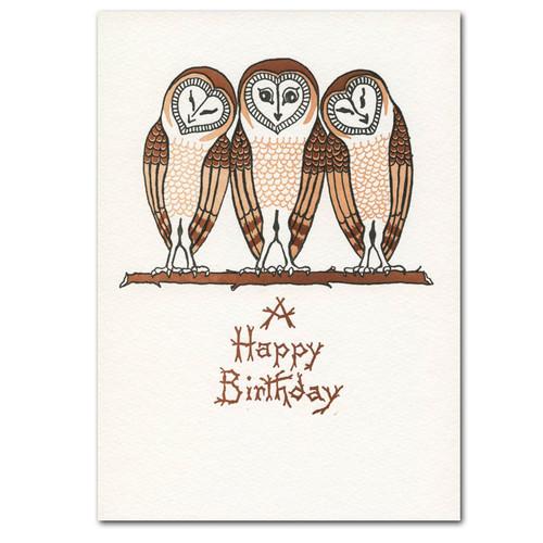 Birthday Cards: Three Owls - box of 10 letterpress cards & envelopes