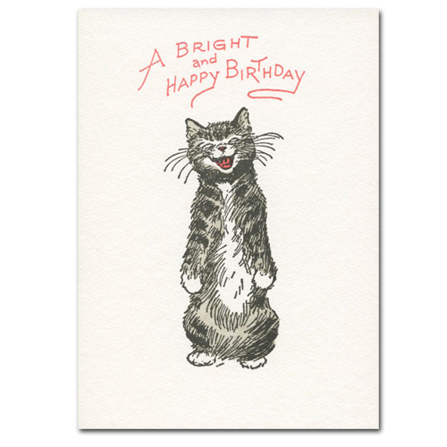 Saturn Press Birthday Greeting Card With Letterpress Drawing Of Cat The Words A Bright