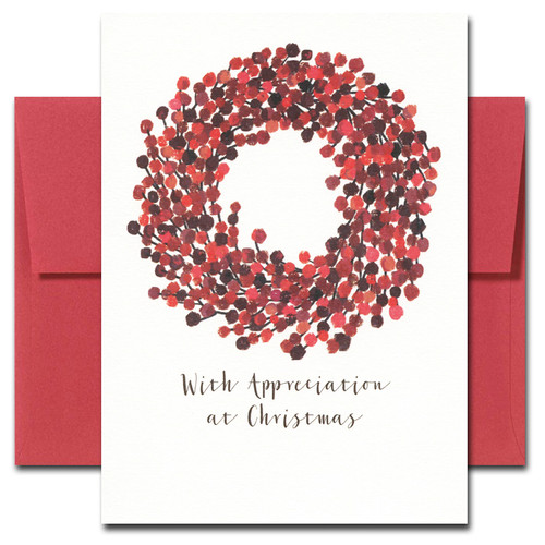 Berry Wreath Thank You Card has a hand-painted watercolor illustration and the words, With Appreciation at Christmas