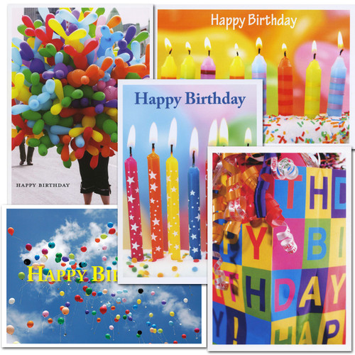 Birthday Cards Essentials Assortment. Cards with bright photos of birthday candles, balloons and gifts