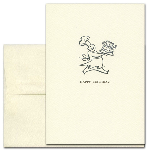 "Boxed Business Birthday Card - Chef Special  with classic illustration drawing of a Chef running with a birthday cake with birthday candles and the text ""Happy Birthday"""