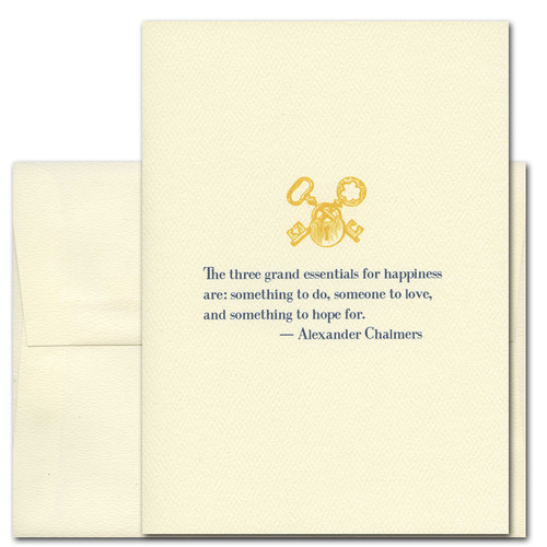 """Quotation Card """"Grand Essentials: Chalmers"""" Cover shows vintage illustration lock and key and quote by Alexander Chalmers """"The three grand essentials for happiness are: something to do, someone to love, and something to look forward to."""""""