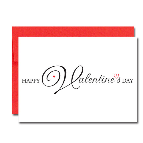 """Image of Valentine Card  Script Heart with the words """" Happy Valentines Day"""" in script lettering across the front of the card"""