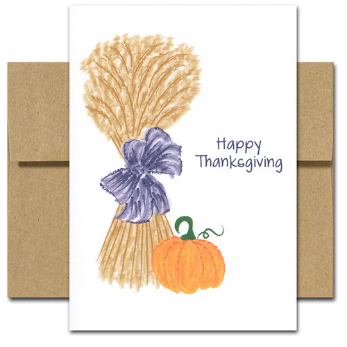 Cover of Thanksgiving Card - Harvest shows a hand drawn stack of wheat and a bright orange pumpkin