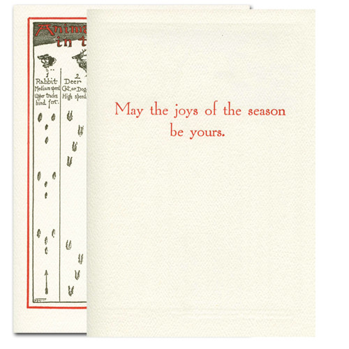 "Animal Tracks - inside greeting in red ink reads, ""May the joys of the season be yours"""
