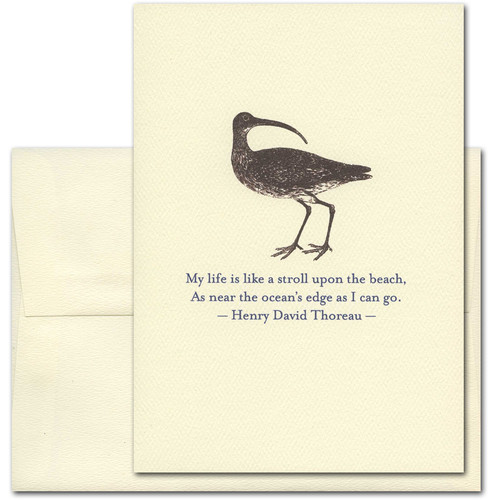 """Quotation Card """"Stroll Upon The Beach: Thoreau"""" Cover shows vintage illustration of a sandpiper with a quote by Henry David Thoreau reading: """"My life is like a stroll upon the beach, As near the ocean's edge as I can go."""""""