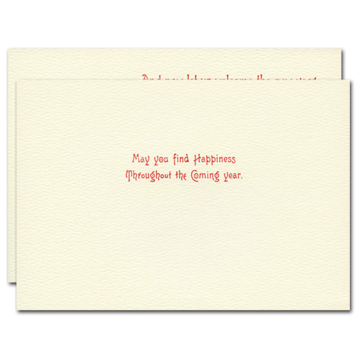 "Inside Saturn Press Letterpress card greeting reads, ""May you find happiness throughout the coming year"""
