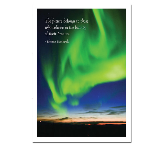 new years card aurora verde cover photo shows a bright green aurora borealis and