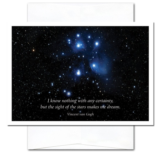 business new year card sight of stars cover photo of the pleaides seven sisters