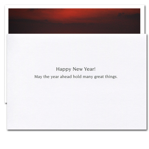 "Inside of Great Things New Year Card reads, ""Happy New Year! May the year ahead hold many great things"""