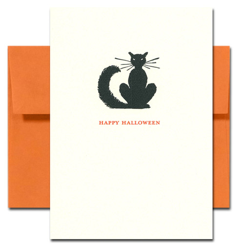 Cover of Black Cat Halloween Card shows a silhouette of a black cat with long whiskers and a bushy tail
