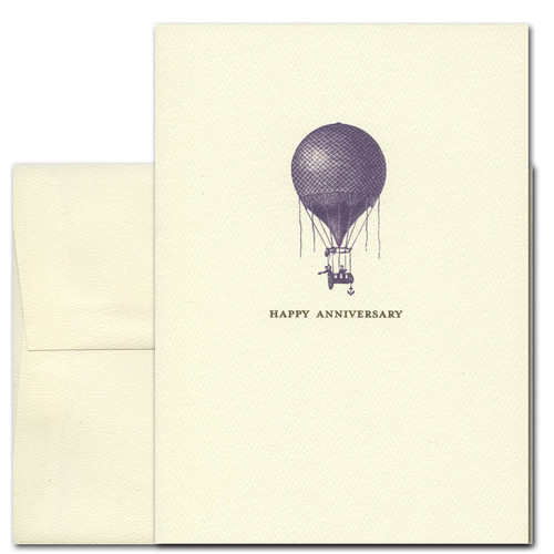Anniversary Cards: Antique Balloon - box of 10 cards & envelopes