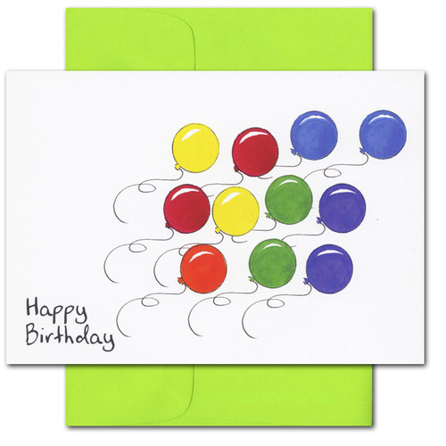 """Boxed Business birthday-card-balloon race with text """"Happy Birthday"""""""
