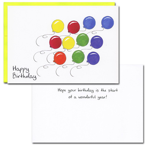 "Business birthday card inside of White background with black lettering with text of: ""Hope your Birthday is the start of a wonderful year"""