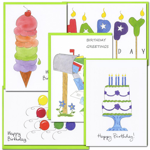 Birthday Cards: Color Sketch Assortment - box of 10 cards &  envelopes