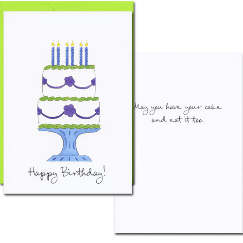 "Cover of boxed Business Birthday Card Have Your Cake with hand drawn birthday cake and the words ""Happy Birthday"" in script.  Inside reads: ""May you have your cake and eat it too!"" in black text"