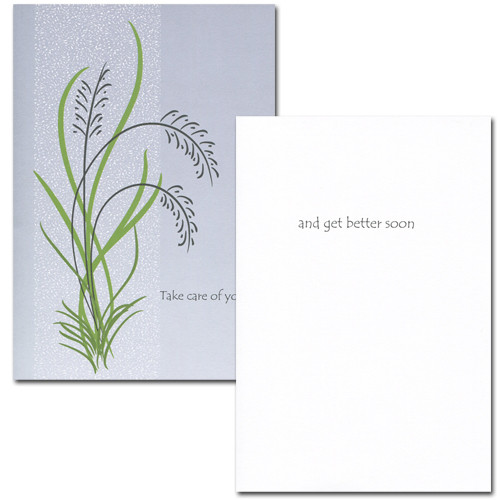 "Get Well Card- Take Care of Yourself inside has the words ""and get better soon"" and space to write a get well message from a medical professional, business associate or personal relationship"