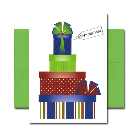 """Boxed Business Birthday Note Card- Party Presents Cover shows 4 wrapped boxes stacked up with the words """"Happy Birthday"""""""