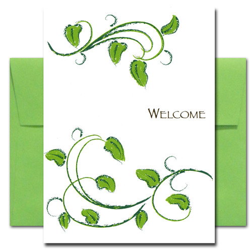Welcome: Leafy - box of 10 cards & envelopes