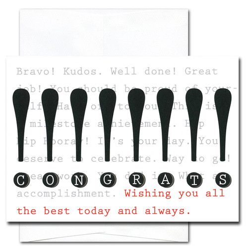 """Business Congratulations Card - Exclamation cover has tall exclamation points in bold black, with the word """"congrats"""" spelled out in the dots of the exclamation points, underneath is the phrase """"Wishing you all the best today and always!"""""""