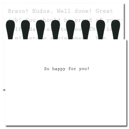 """Inside of Business Congratulations Cards Exclamation has the words """"So happy for you"""" in simple black text"""