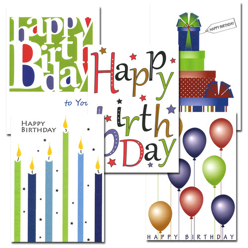 """Boxed Business Birthday Note Card Assortment 50 note cards covers of each of the 5 note cards in the business birthday note card assortment, each with the words """"Happy birthday"""" in bright letters with different illustration"""