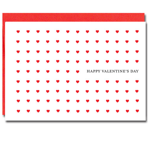 image of Valentine card  - Every Day showing 9 rows  and 9 columns of hearts with the words in bold black lettering Happy Valentine's Day
