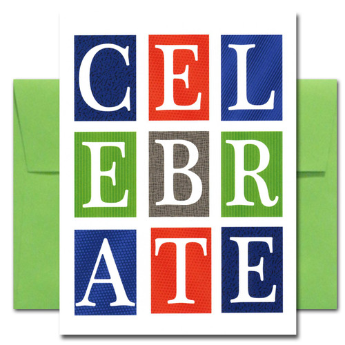 Cover of Business Congratulations Card has the word Celebrate set in big blocks of color