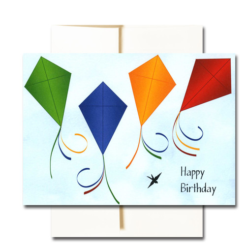 "Boxed Business Birthday Note Card - Kites Cover has the words ""Happy Birthday"" along with flying kites and a small bird on a sky blue background"