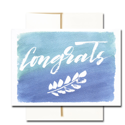 """Business Congratulations Note Card - New Leaf has the word """"Congrats"""" set off by chalk art leaves and a hand-painted watercolor background"""