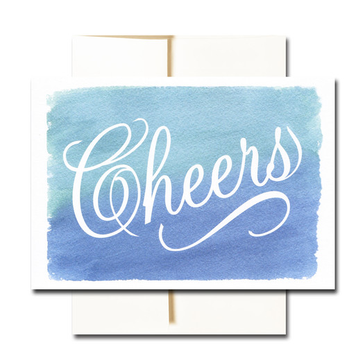 """Business Congratulations Note Card - Cheers has the word """"Cheers"""" in script on a colorful hand-painted watercolor background"""