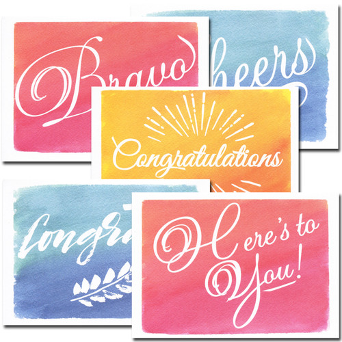 Congratulations Cards: Colorful Assortment - box of 30 blank cards & 32 env