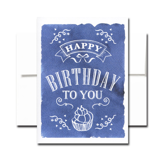 "Boxed Birthday Card - Chalkboard Cupcake has a hand-drawn and lettered design and the words ""Happy Birthday to You"""