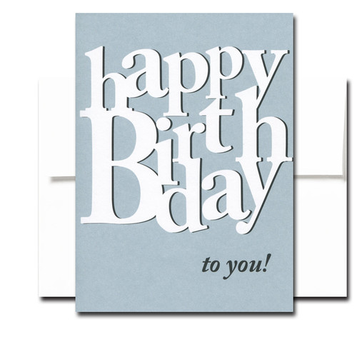 """Boxed Birthday Card - Many More has white and black lettering on a blue background and the words """"Happy Birthday to you!"""""""