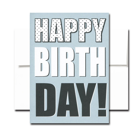 """Boxed Birthday Card - Big Day has white and black lettering on a blue background and the words """"Happy Birth Day!"""""""