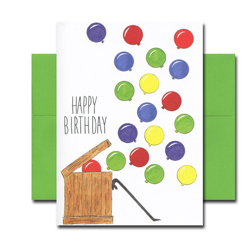 """Boxed Birthday Card -Opening Day has hand-drawn illustration and the hand-lettered words """"Happy Birthday"""""""