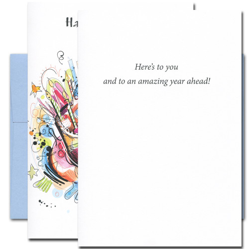 Here's to You Birthday Card inside reads: Here's to You and to an amazing year ahead
