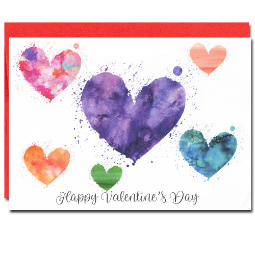 Valentine Cards: Colorful Hearts - box of 10 cards & envelopes