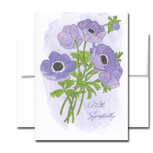 Sympathy Cards: Anemone - box of 30 cards & 32 envelopes