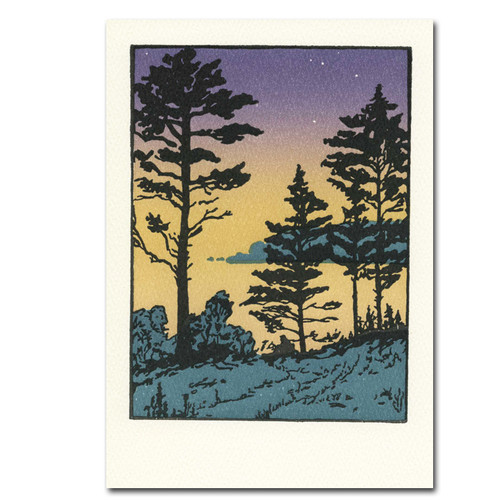 """Saturn Press All Occasion Card """"Twilight"""" Cover shows a wooded river bank night with a starry evening sky that fades to light green."""