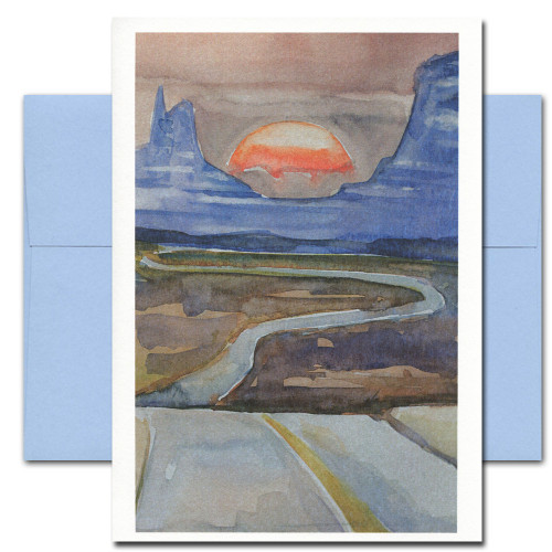 All Occasion Card: Desert features a watercolor illustration of a highway heading into a desert sunset