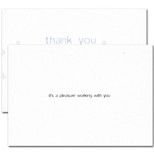 Triple Business Thank You Card. Inside reads: It's a pleasure working with you
