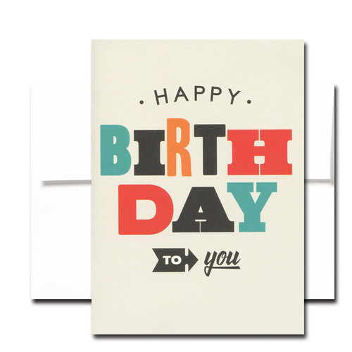 Boxed Birthday Card - Best of Everything tr-color lettering on a light tan background and the words Happy Birthday to you