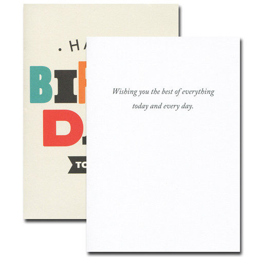 Boxed Birthday Card inside reads: Wishing you the best of everything today and every day.