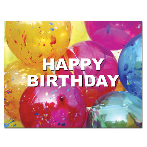 POSTCARDS: Birthday: Bright Balloons - box of 50 postcards