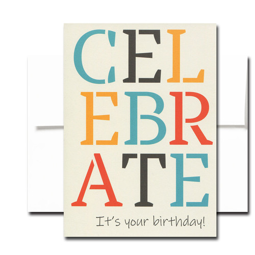 Boxed Birthday Card - Big Celebration has tri-color lettering on a light tan background and the words Celebrate  It's your birthday