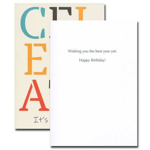 Boxed Birthday Card inside reads: Wishing you the best year yet. Happy Birthday!